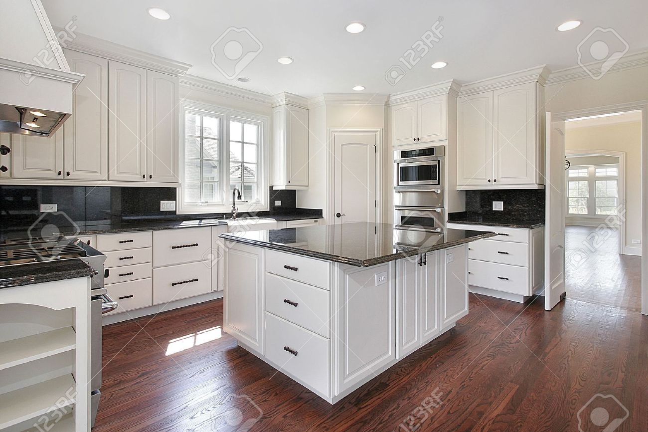 Kitchen In Luxury Home With Marble Island Stock Photo   6732921