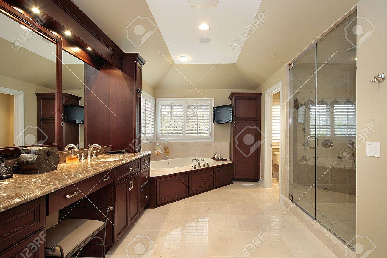 Master bath in luxury home with wood tub Stock Photo - 6760857