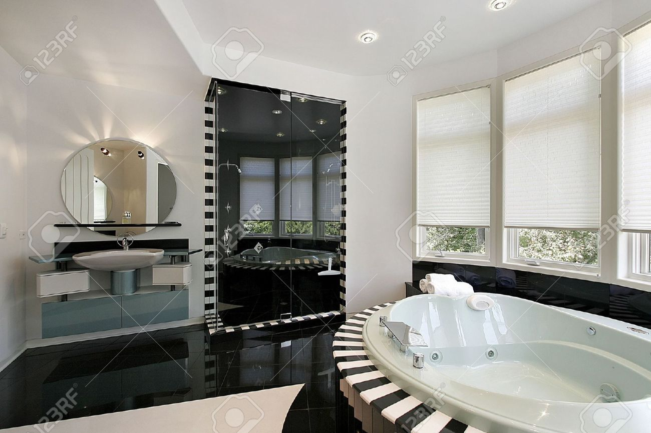 Ultra Modern Master Bath With Black Marble Shower Stock Photo ...