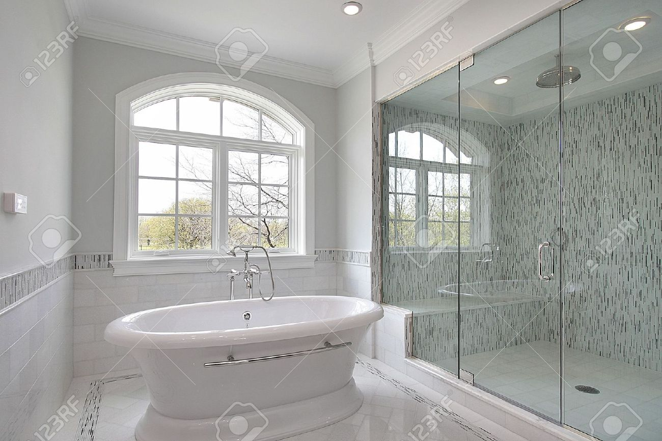 Merveilleux Master Bath In New Construction Home With Large Glass Shower Stock Photo    6738088