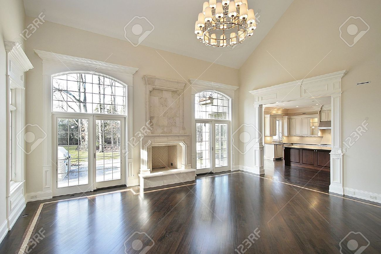 Family Room With Fireplace Part - 42: Family Room In New Construction Home With Fireplace Stock Photo - 6738826