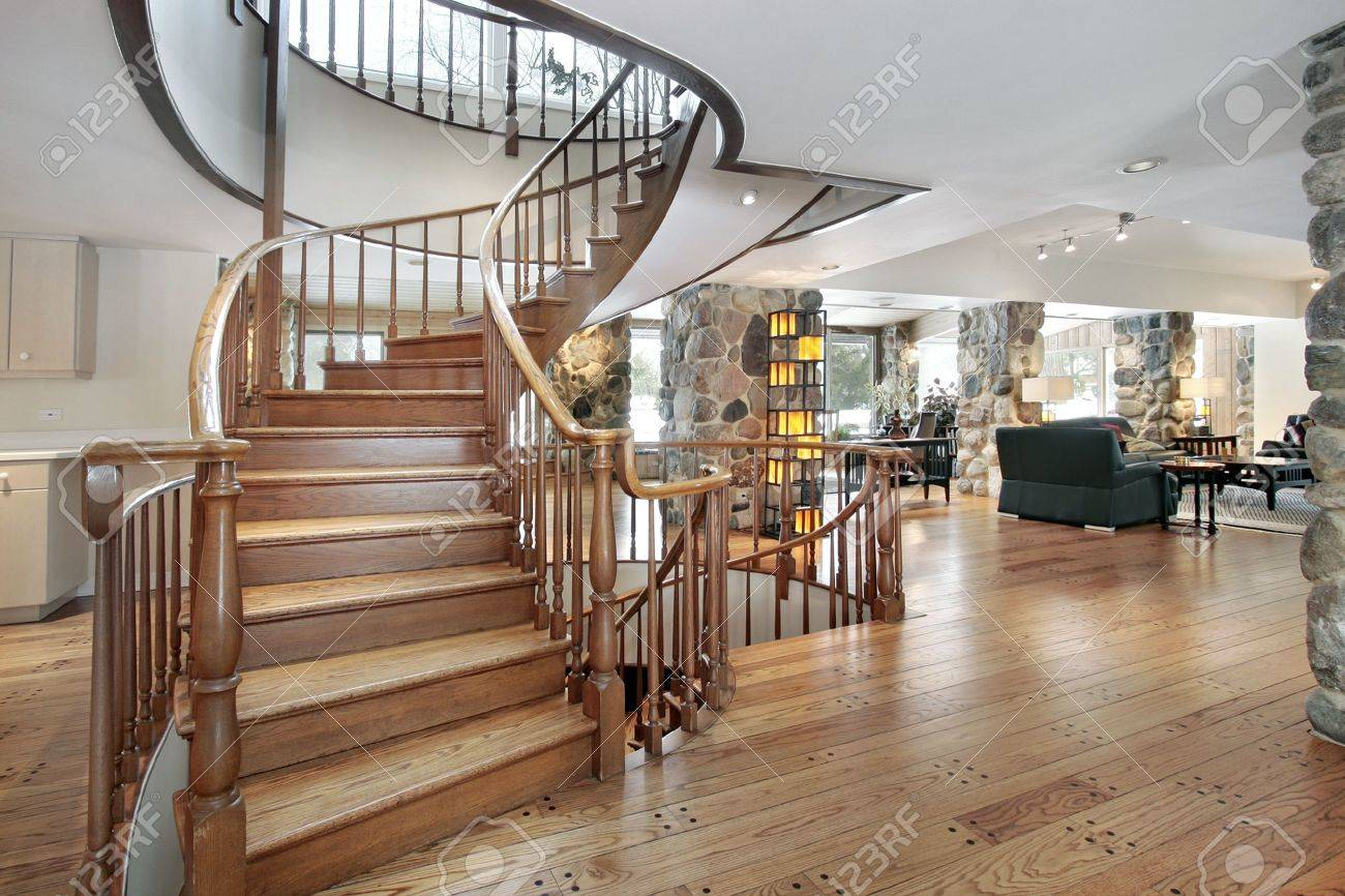 Western style suburban foyer with circular staircase Stock Photo - 6738492