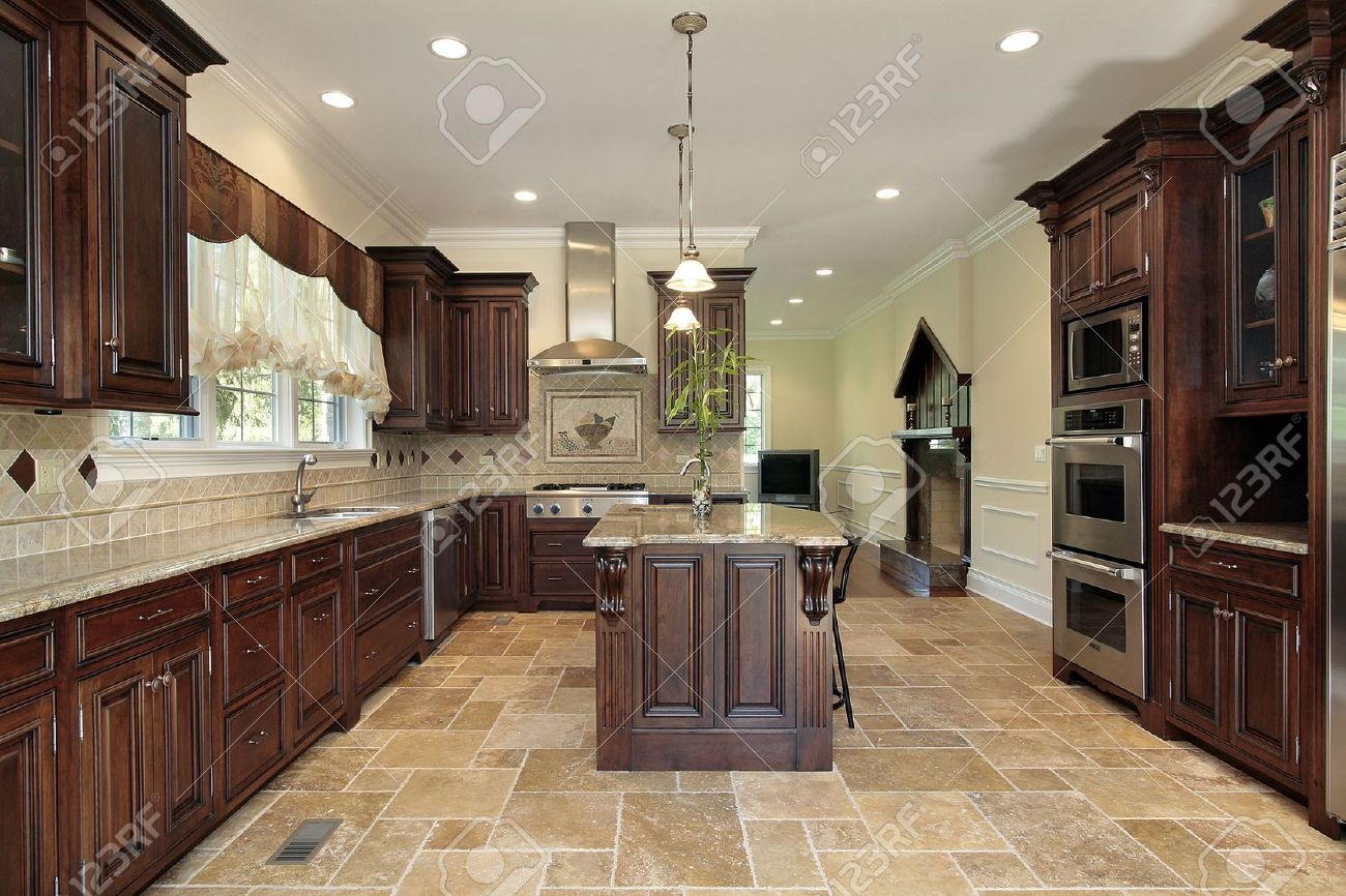 Large Kitchen In Luxury Home With Cherry Wood Cabinetry Stock Photo    6738712