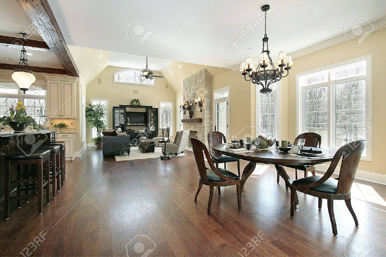 Kitchen eating area and family room in luxury home Stock Photo - 6738726