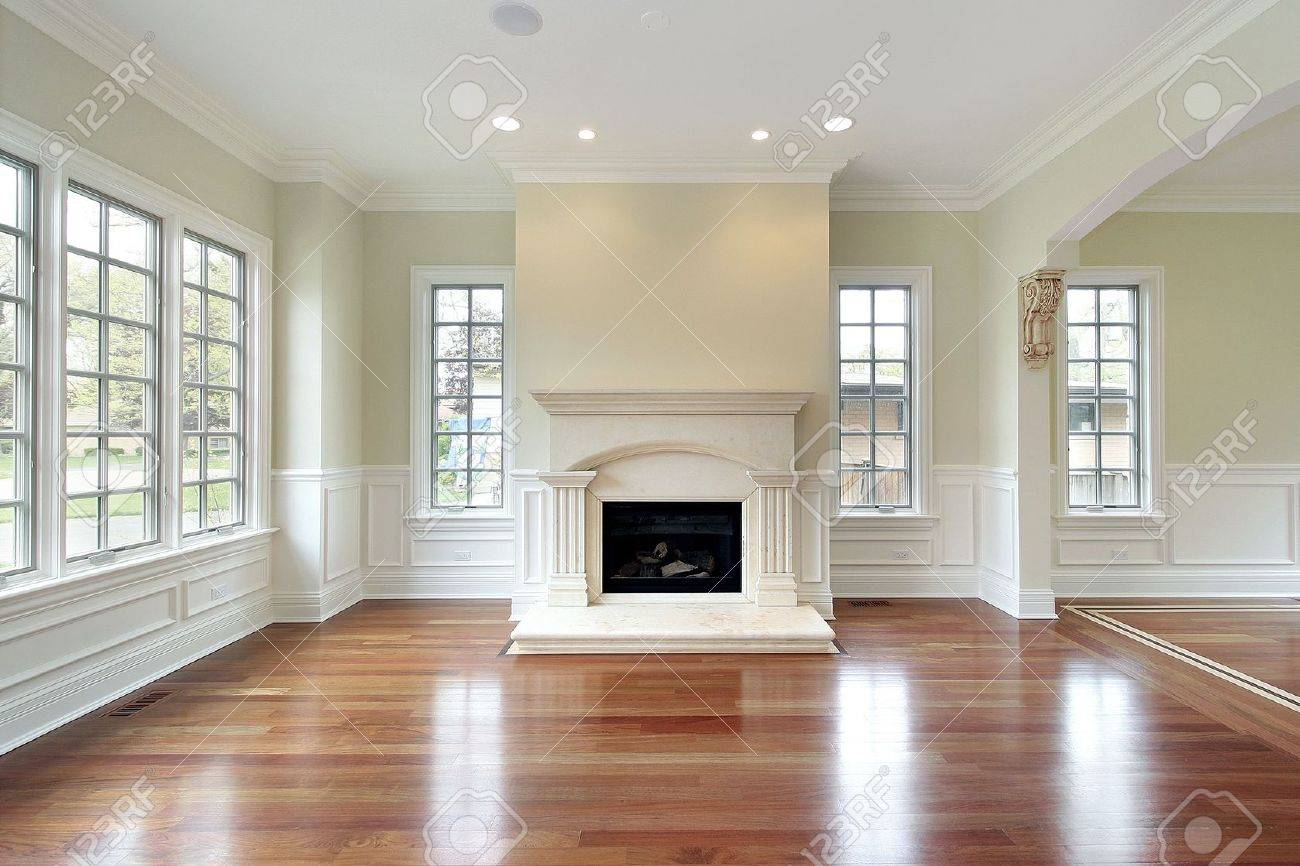 Marble Floor: Living Room In New Construction House With Fireplace