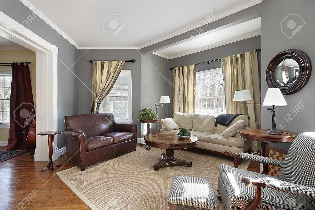Living room in suburban home with gray walls Stock Photo - 6738329