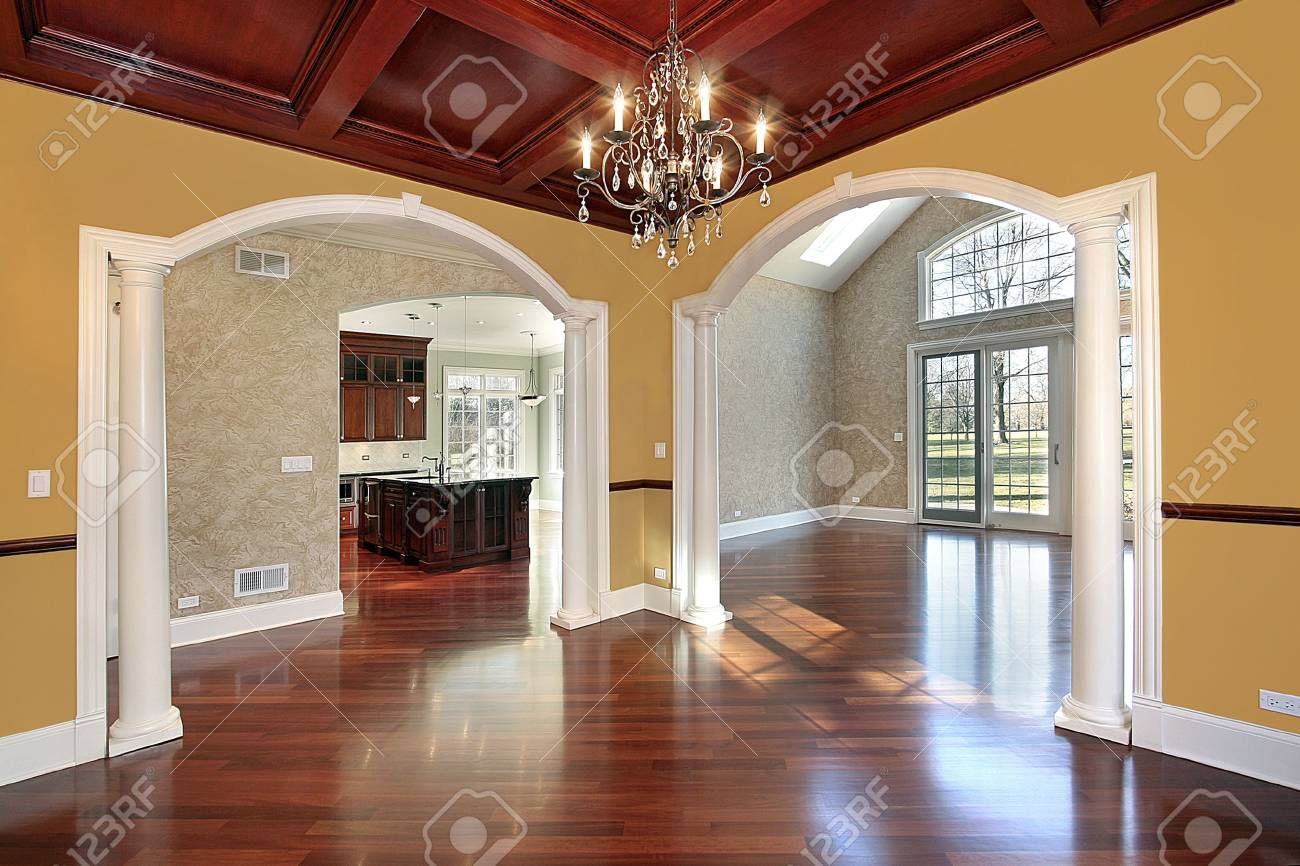 Dining room in new construction home with white colums Stock Photo - 6738976
