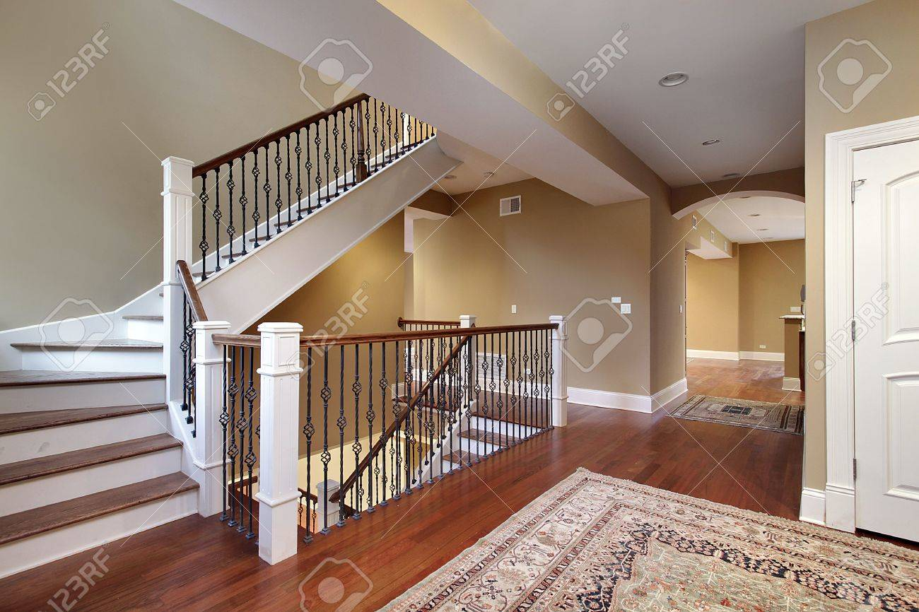 Foyer In New Construction Home With Cherry Wood Floors Stock Photo   6738300