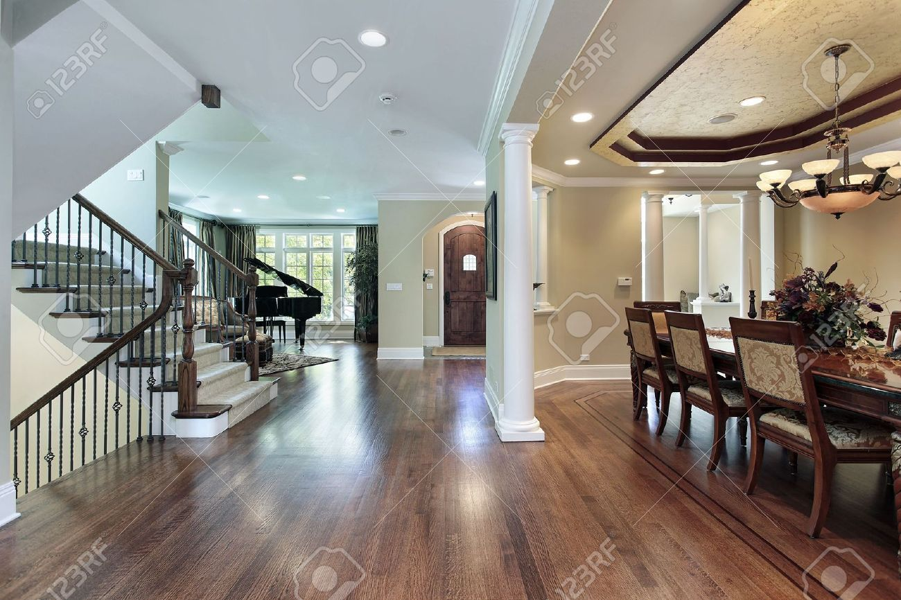 Luxury Home Foyer : Foyer in luxury home with dining room view stock photo picture
