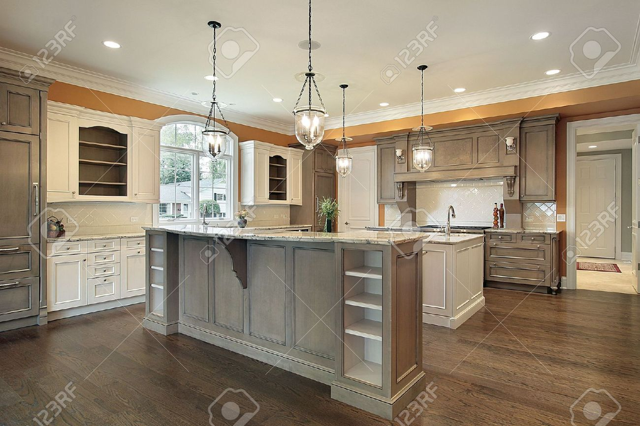 kitchen in luxury home with granite island stock photo picture kitchen in luxury home with granite island stock photo 6738747