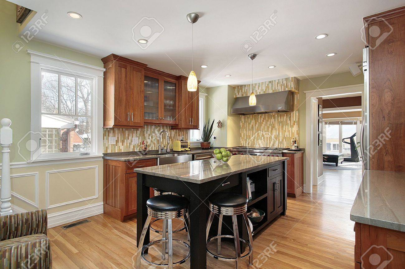 Granite Islands Kitchen Kitchen In Luxury Home With Granite Island Stock Photo Picture