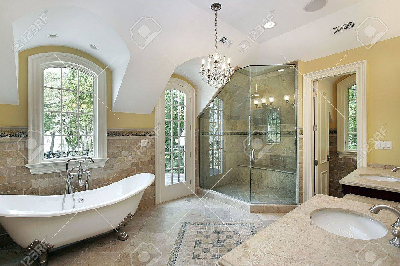 Master bath in new construction home with glass shower Stock Photo - 6738435