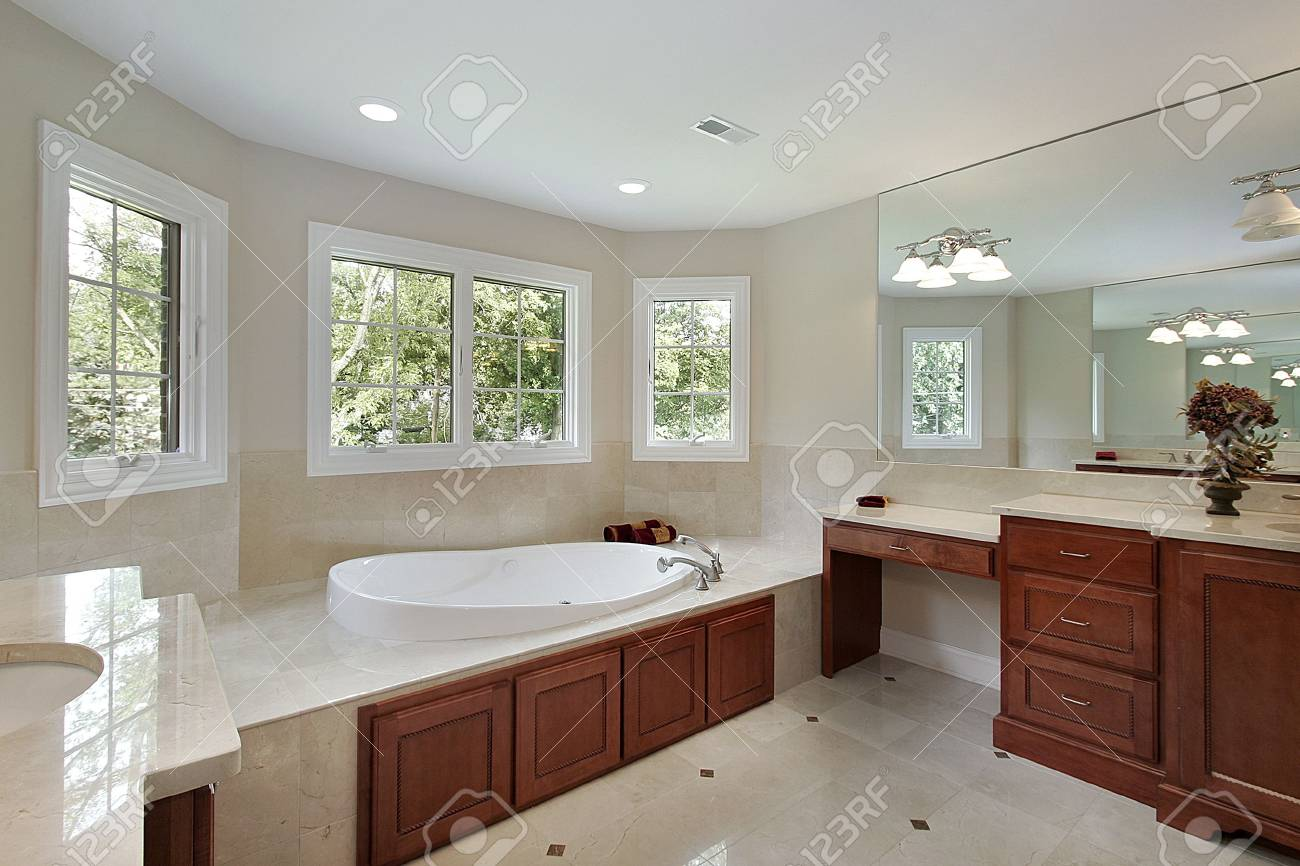 Master bath in new construction home with wood cabinetry Stock Photo - 6738325