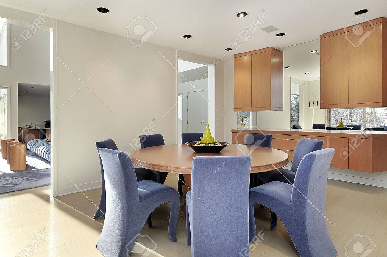 Dining room in luxury home with lavendar colored chairs Stock Photo - 6739127