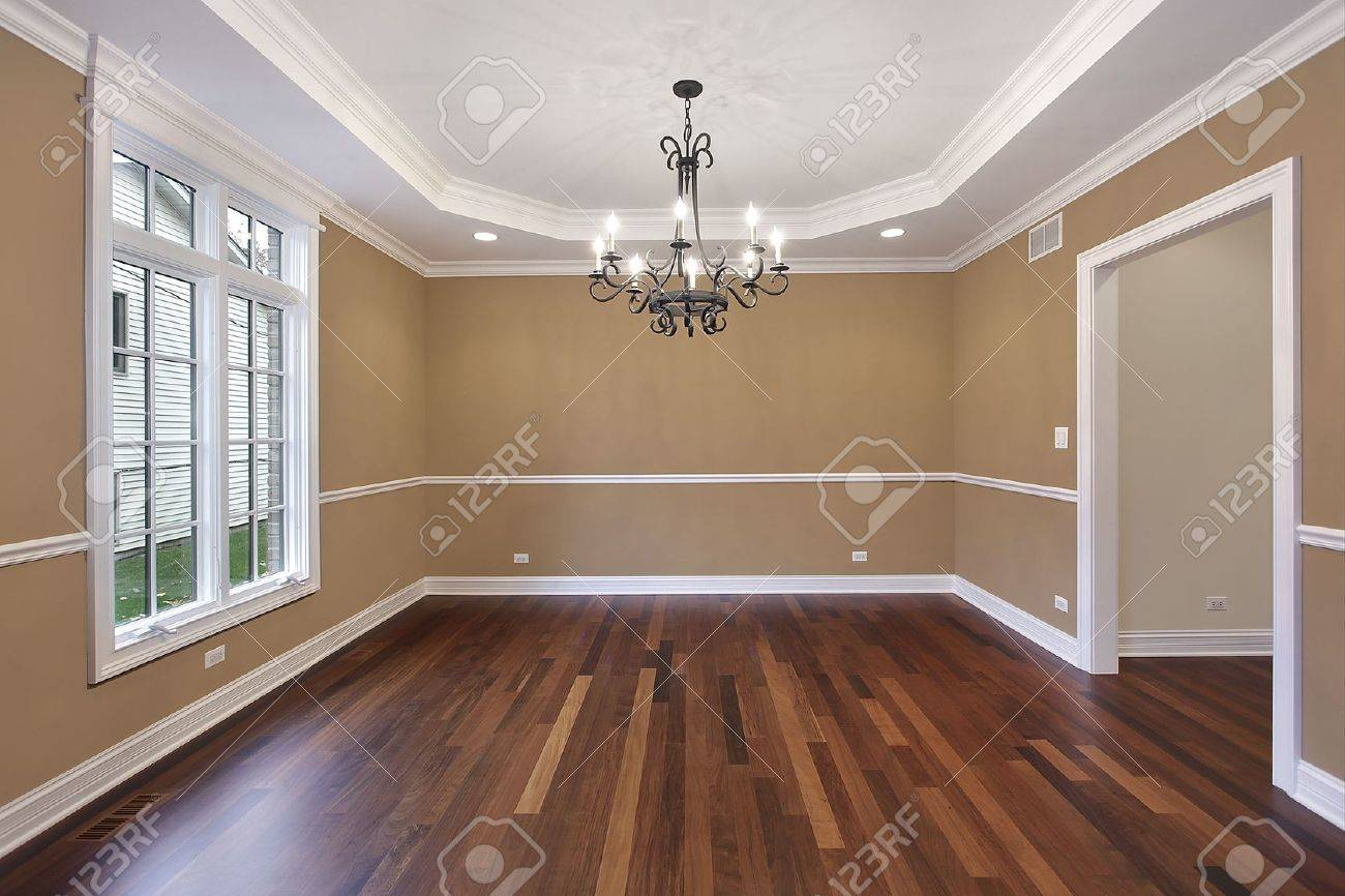Dining room in new construction home with tan walls Stock Photo - 6739361