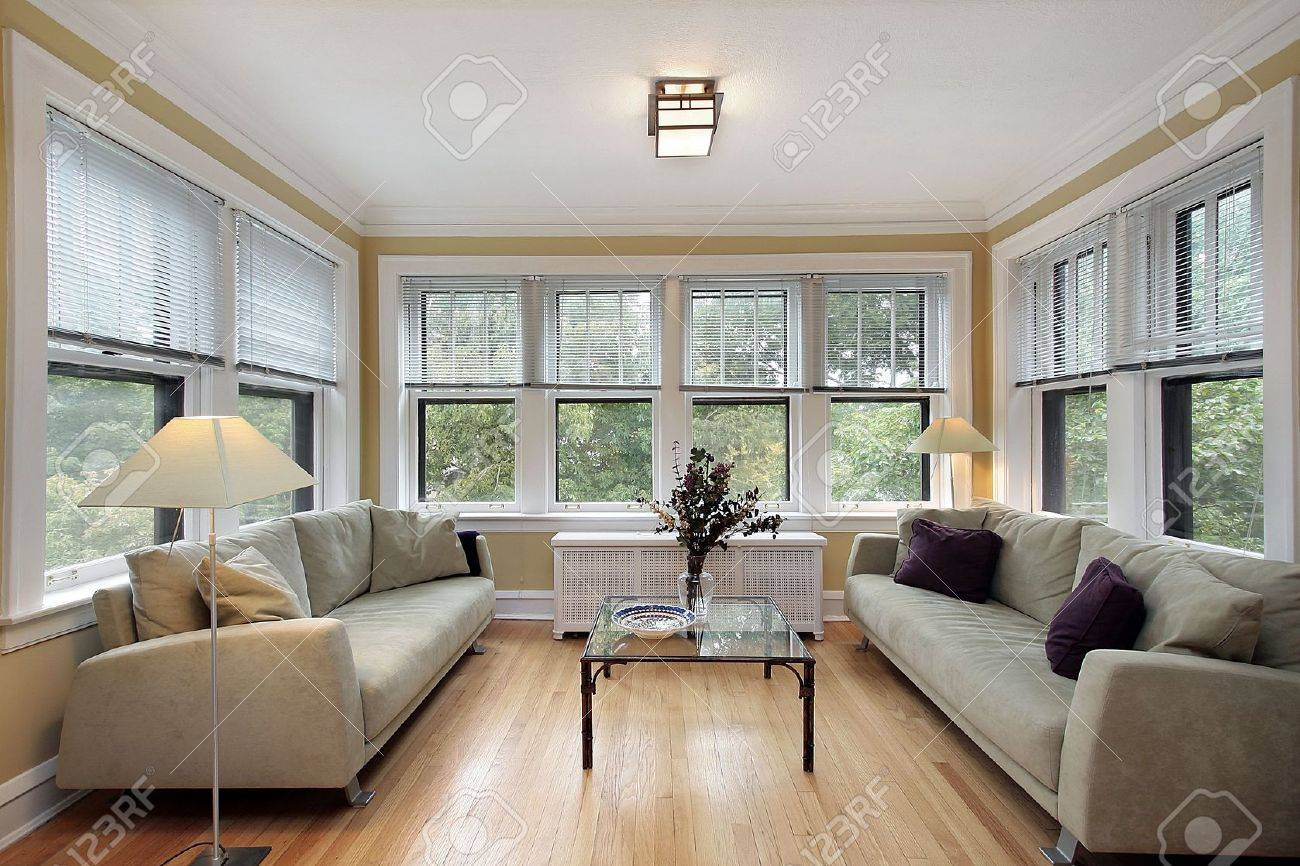 Wall Pictures For Family Room Part - 33: Family Room In Condo With Wall Of Windows Stock Photo - 6738877