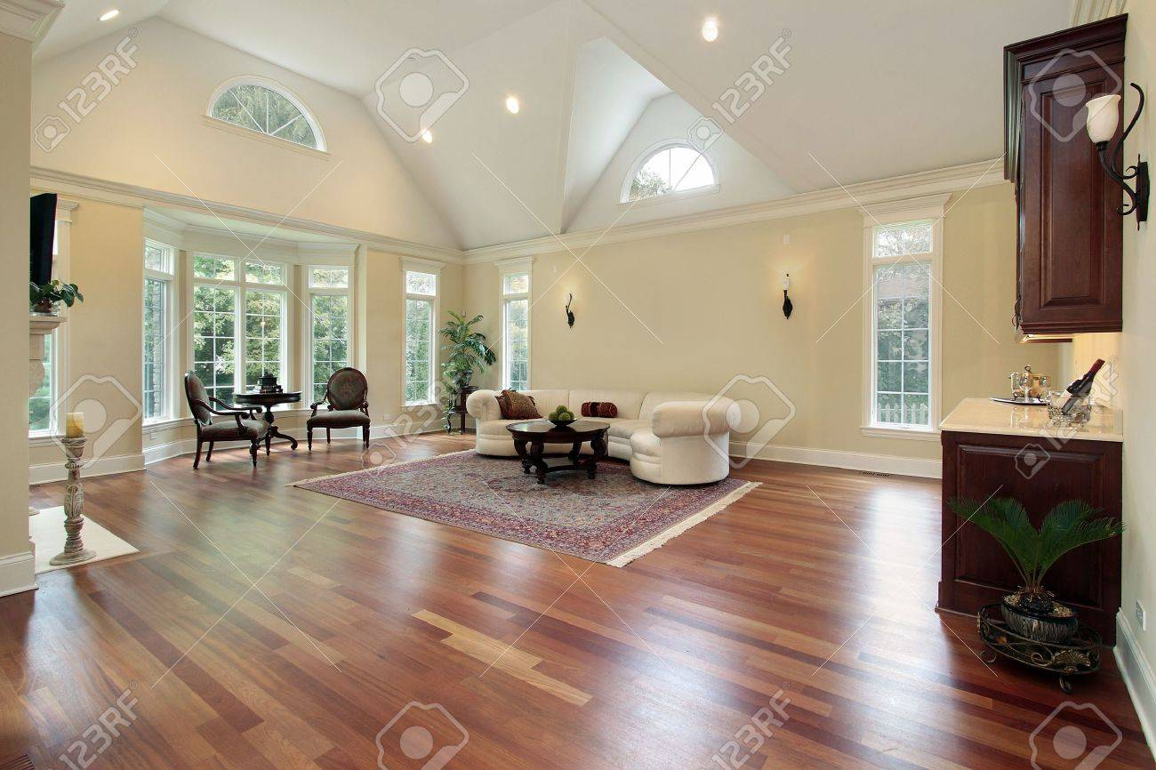 Family room in luxury home with curved windows Stock Photo - 6738928
