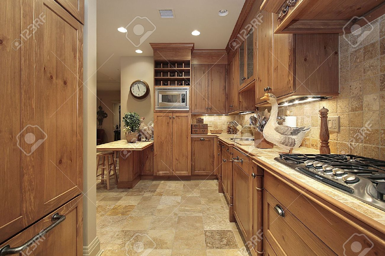Country Kitchen In Condominium With Oak Cabinetry Stock Photo Picture And Royalty Free Image 6738440
