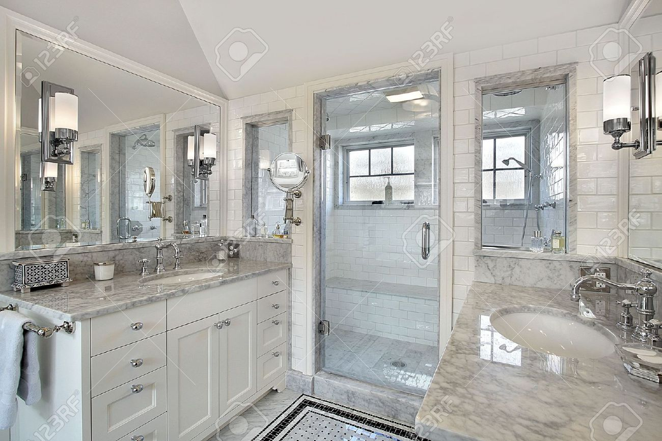 master bath in luxury home with windowed shower stock photo 6738390