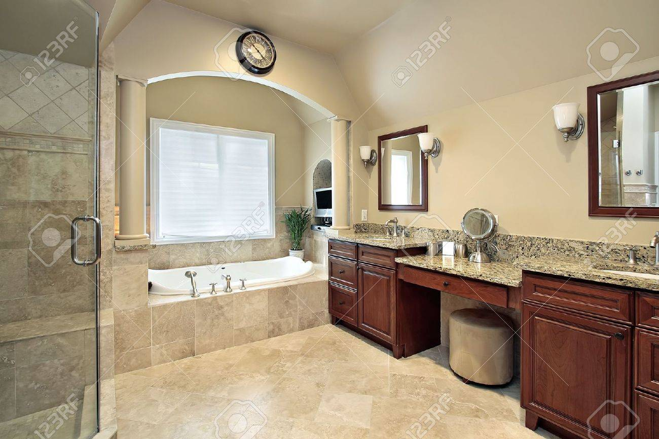 master bath in luxury home with tub columns stock photo 6738410 - Remodeling Master Bathroom