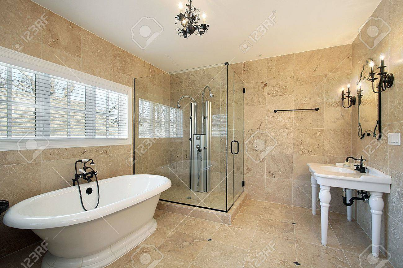 Luxury master bathroom shower - Master Bath In Luxury Home With Large Glass Shower Stock Photo 6738857