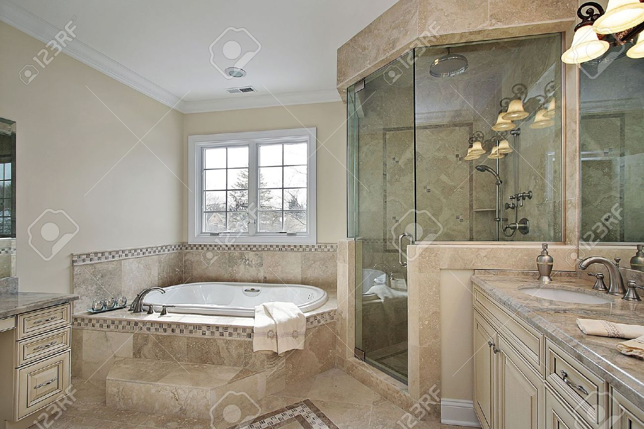 Master Bath In Luxury Home With Large Glass Shower Stock Photo   6738782