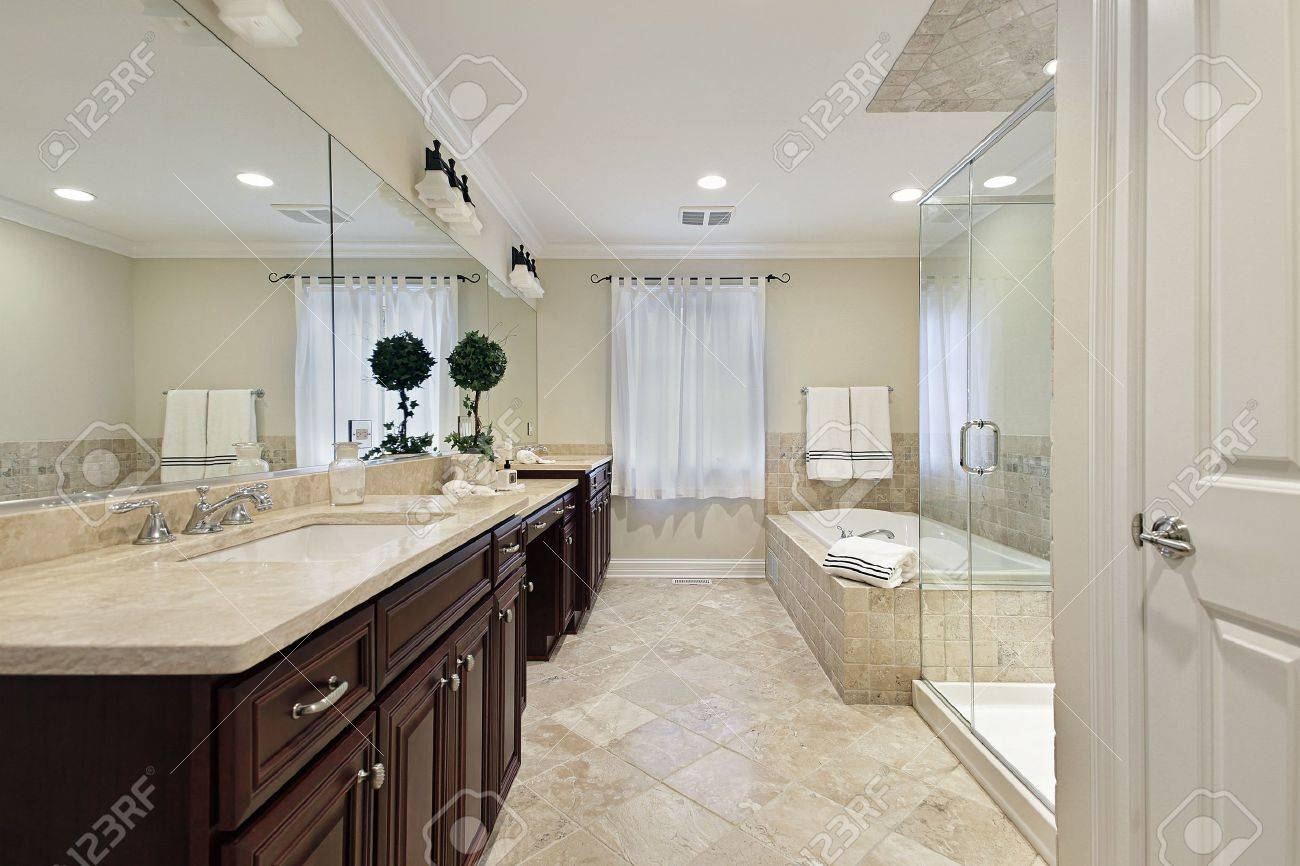 Master bath in luxury home with glass shower Stock Photo - 6738979