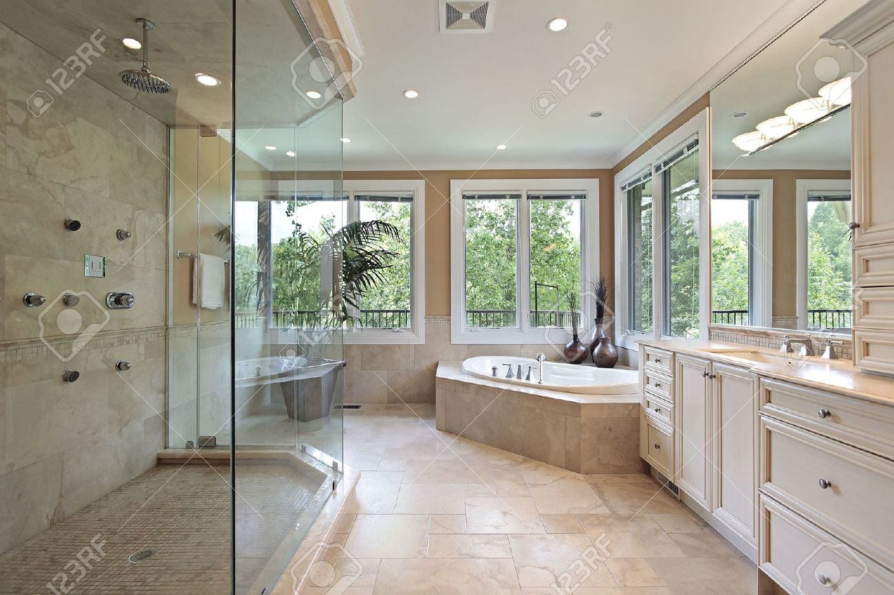 Exceptionnel Master Bath In New Construction Home With Large Glass Shower Stock Photo    6738895