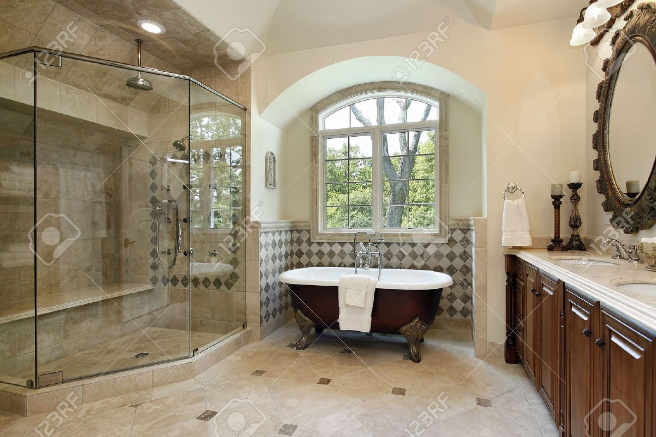 Luxury master bathroom shower - Master Bath In Luxury Home With Glass Shower Stock Photo 6739033