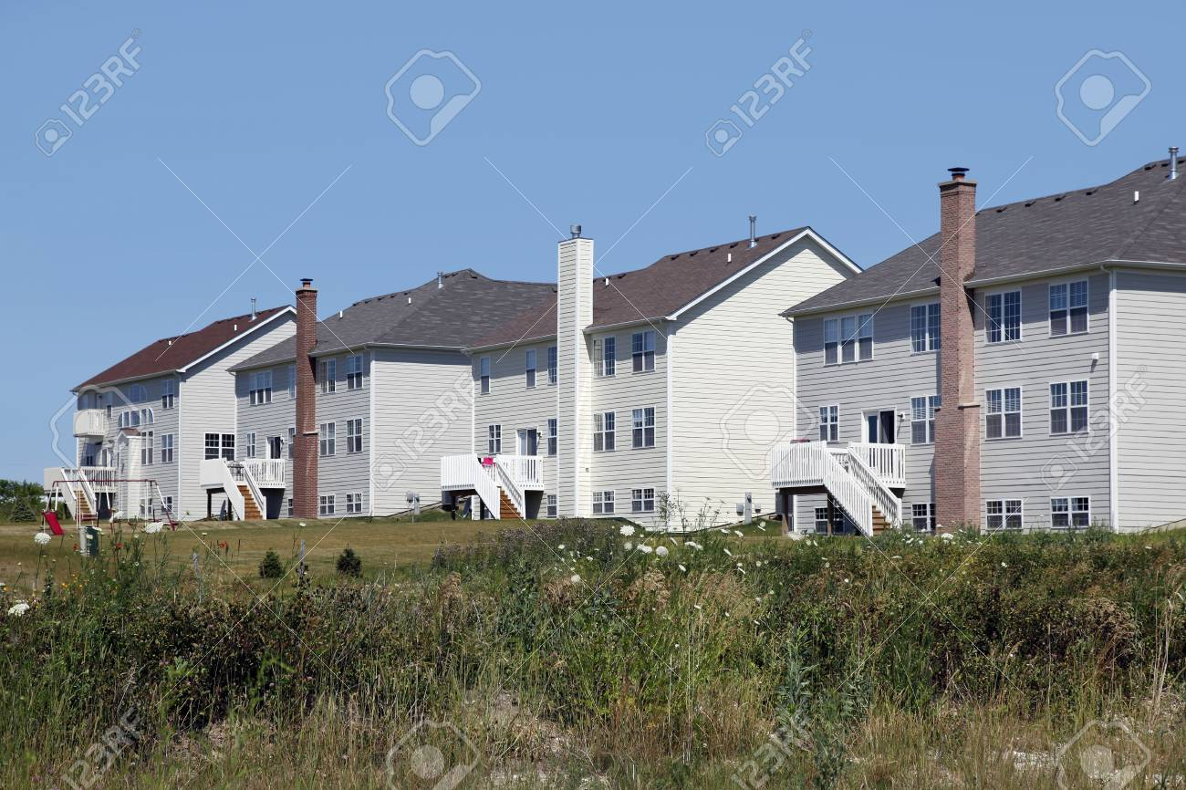 Rear view of large white homes in a rural environment Stock Photo - 6740080