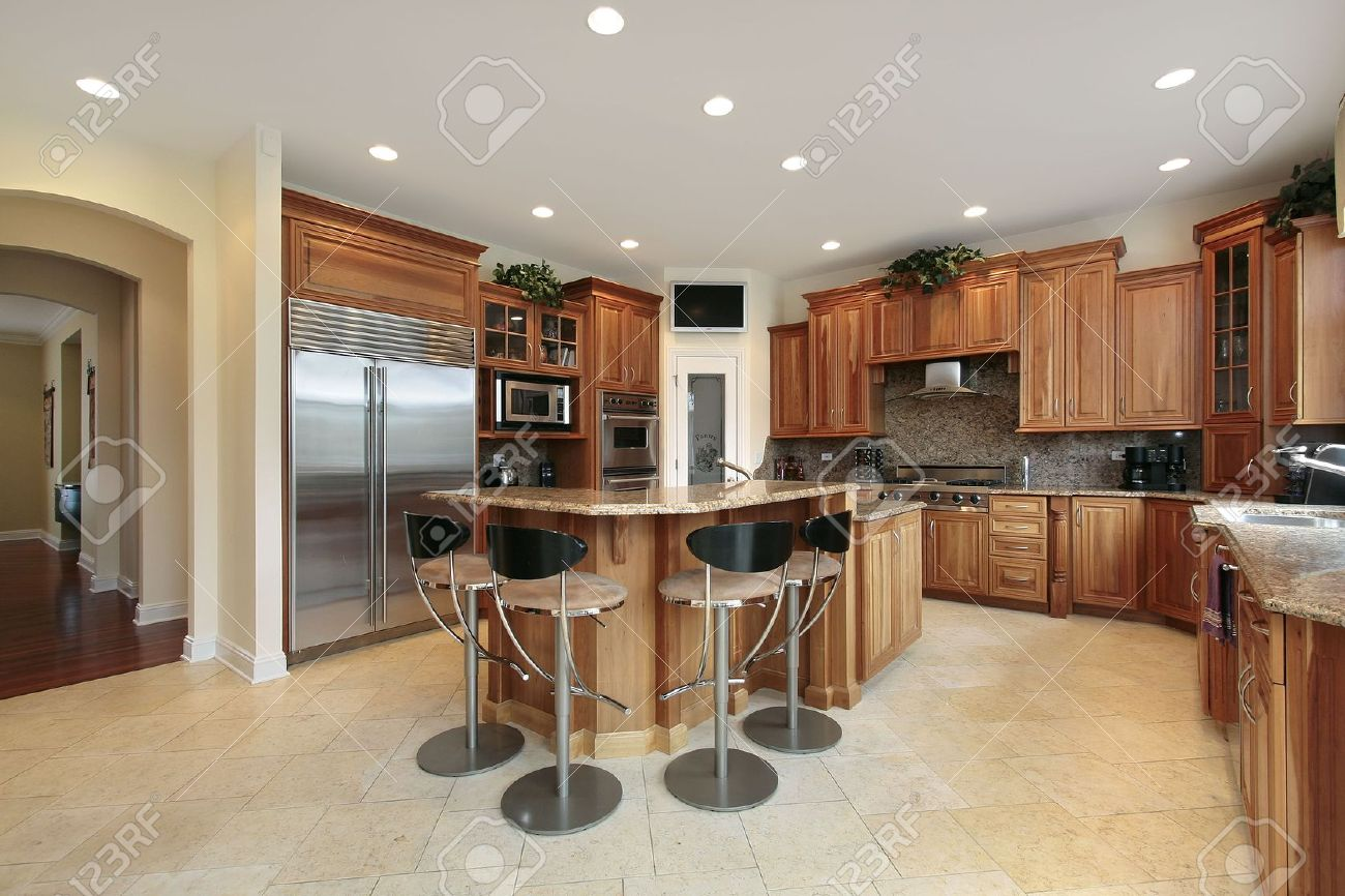 Kitchen in luxury home with bar stools Stock Photo - 6739824 & Kitchen In Luxury Home With Bar Stools Stock Photo Picture And ... islam-shia.org