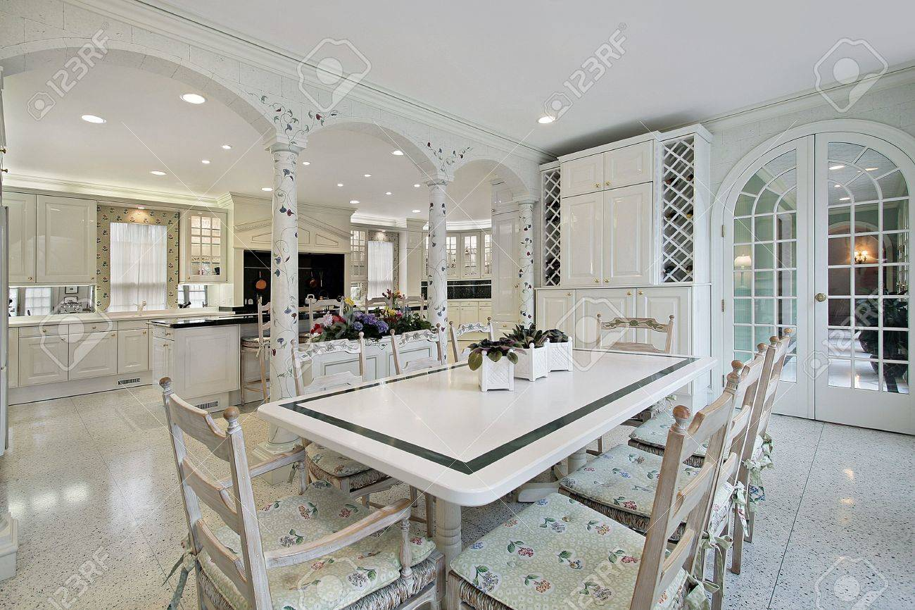 Eating area in traditional home with columns Stock Photo - 6740130