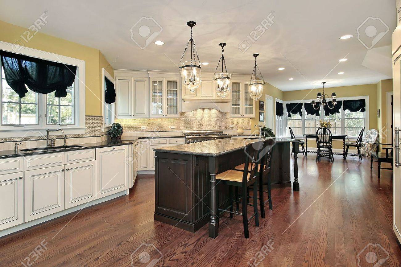 Kitchen Eating Area Large Kitchen With Island And Eating Area Stock Photo Picture And