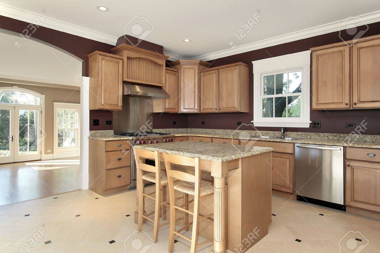 Kitchen in new construction home with granite and wood island Stock Photo - 6739642