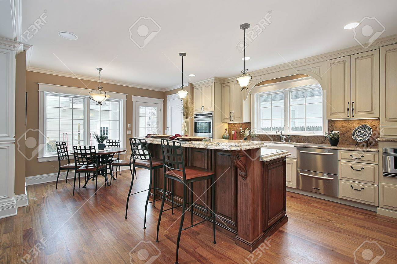 Kitchen in luxury home with two tiered island Stock Photo - 6739696