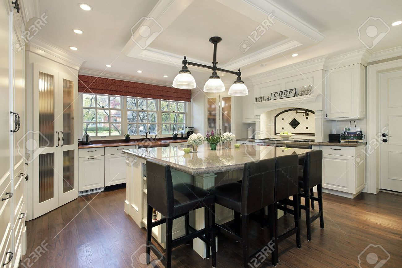 Kitchen in luxury home with large center island Stock Photo - 6740574