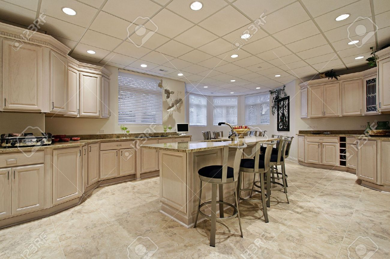 Large Kitchen Large Kitchen In Lower Level Of Luxury Home Stock Photo Picture
