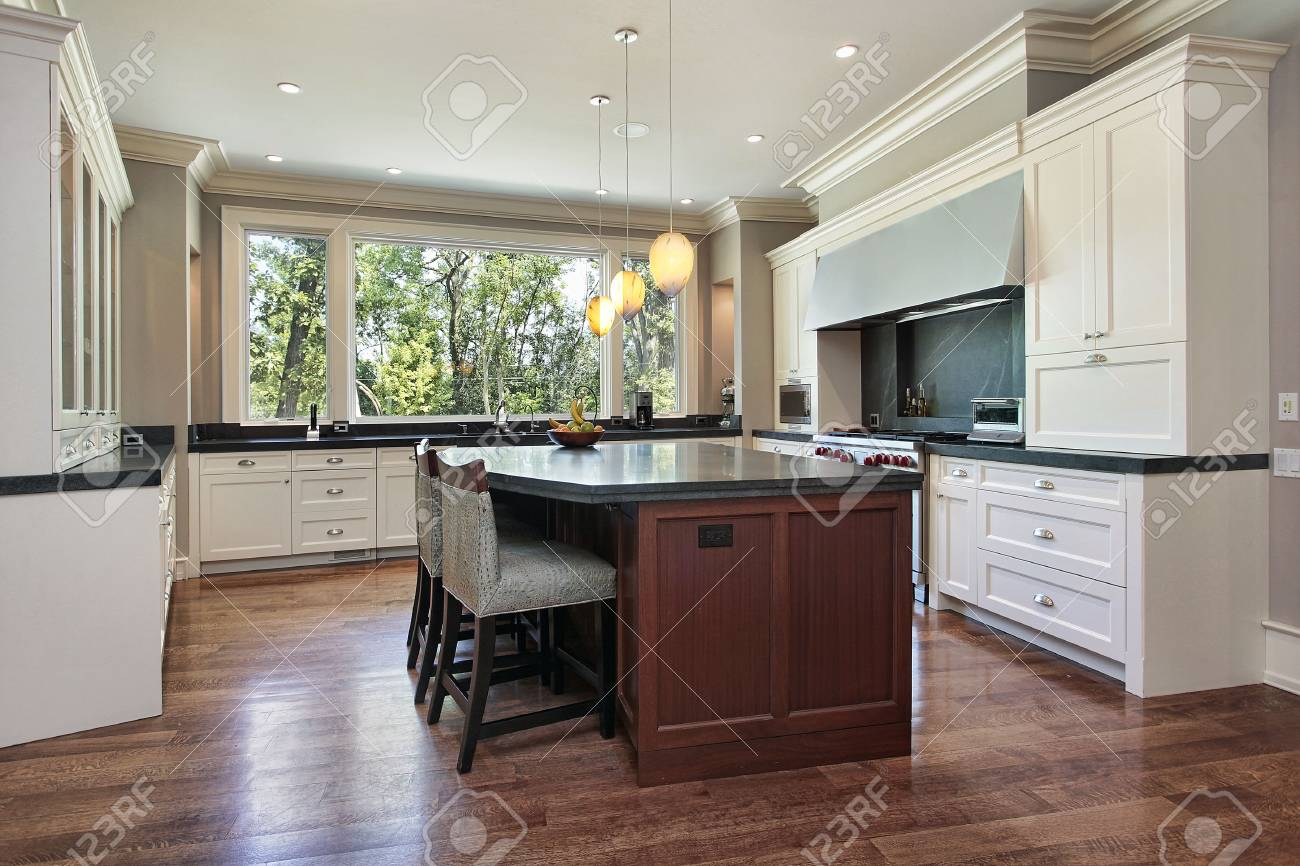 Kitchen in luxury home with gray granite island Stock Photo - 6740071