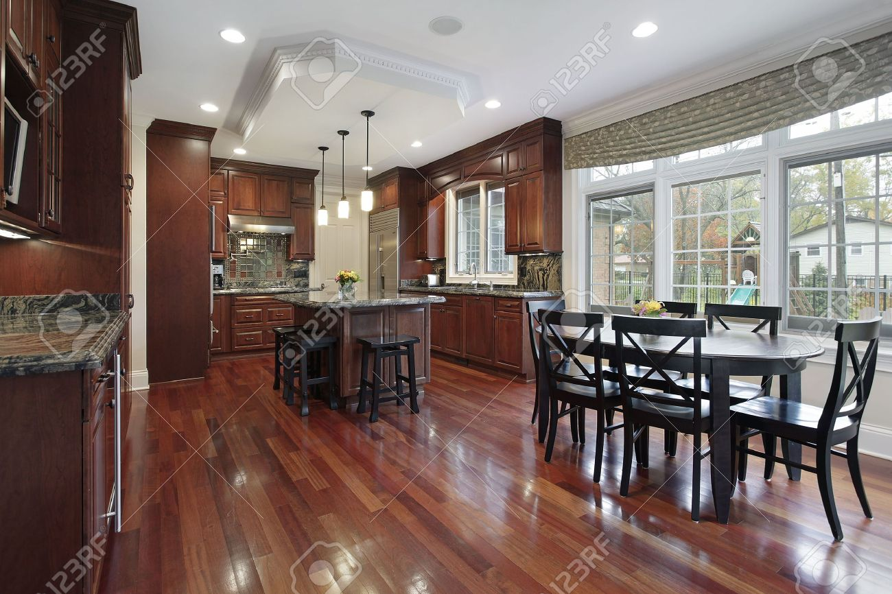 Kitchen Wood Flooring Kitchen In Luxury Home With Cherry Wood Flooring Stock Photo