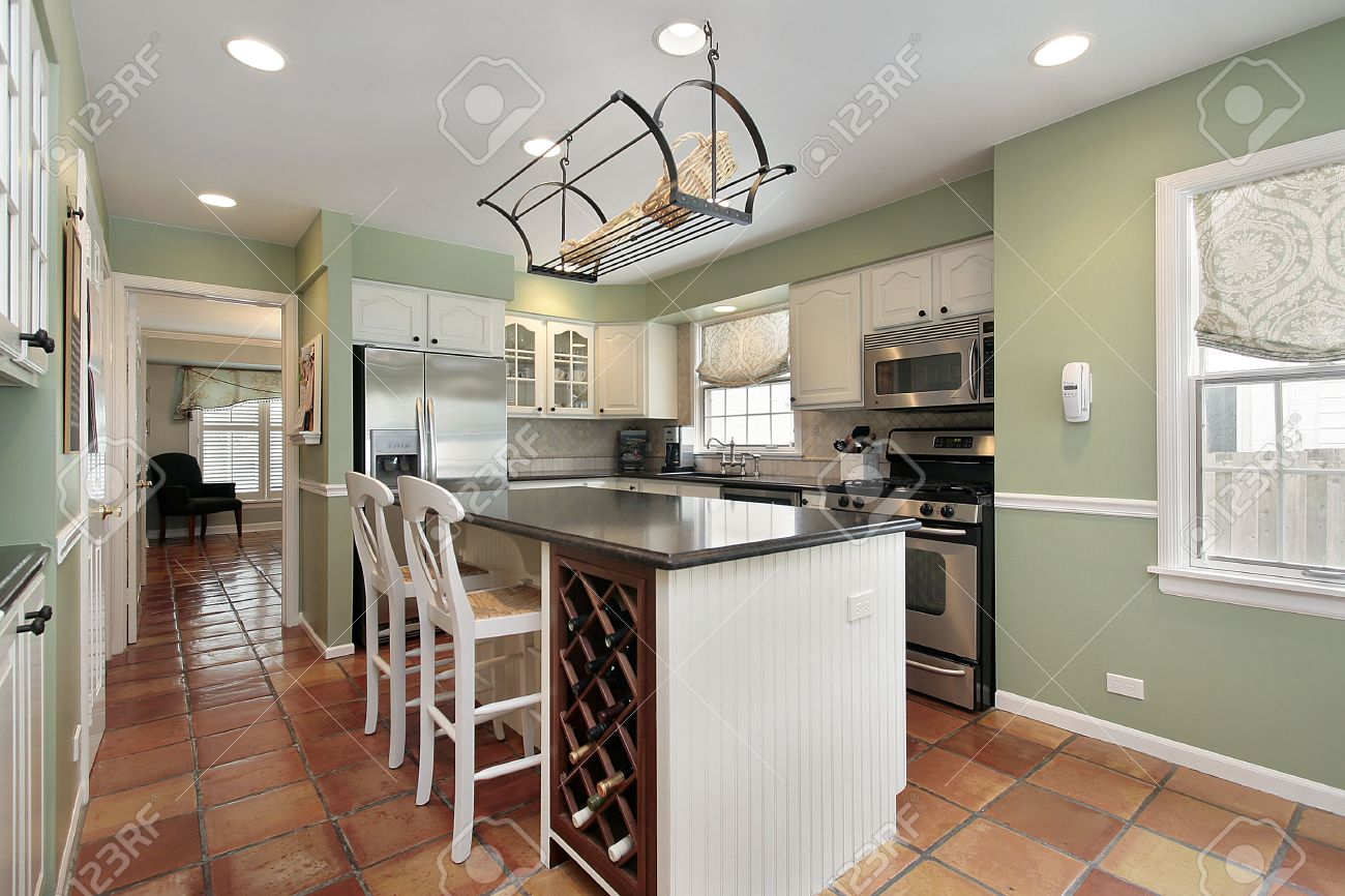 Kitchens With Terracotta Floors Kitchen In Suburban Home With Terra Cotta Floor Tile Stock Photo