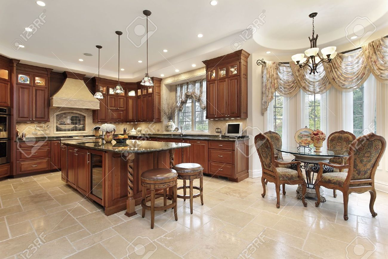 Kitchen Eating Area Large Kitchen In Luxury Home With Eating Area Stock Photo Picture