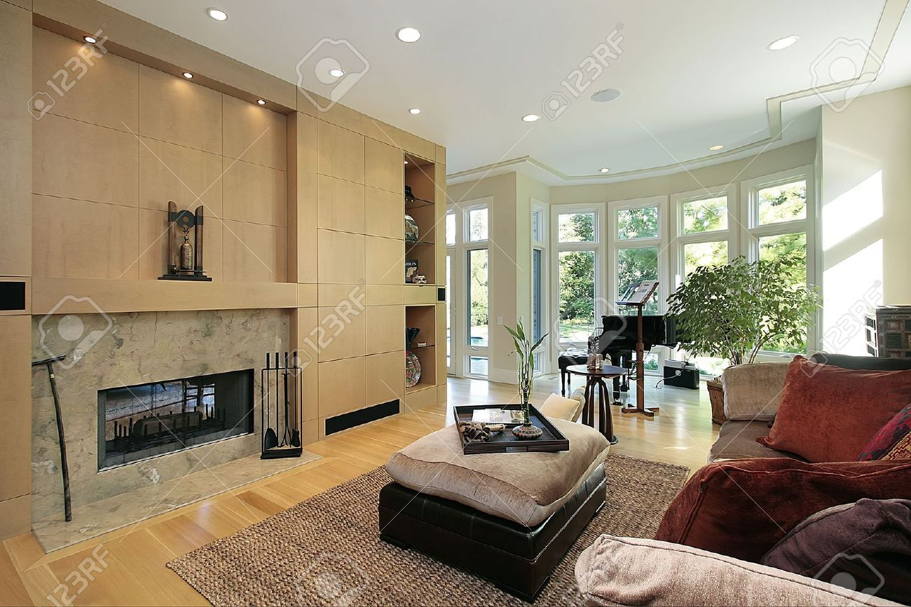 Luxury living room fireplace - Living Room In Luxury Home With Marble Fireplace Stock Photo 6739837