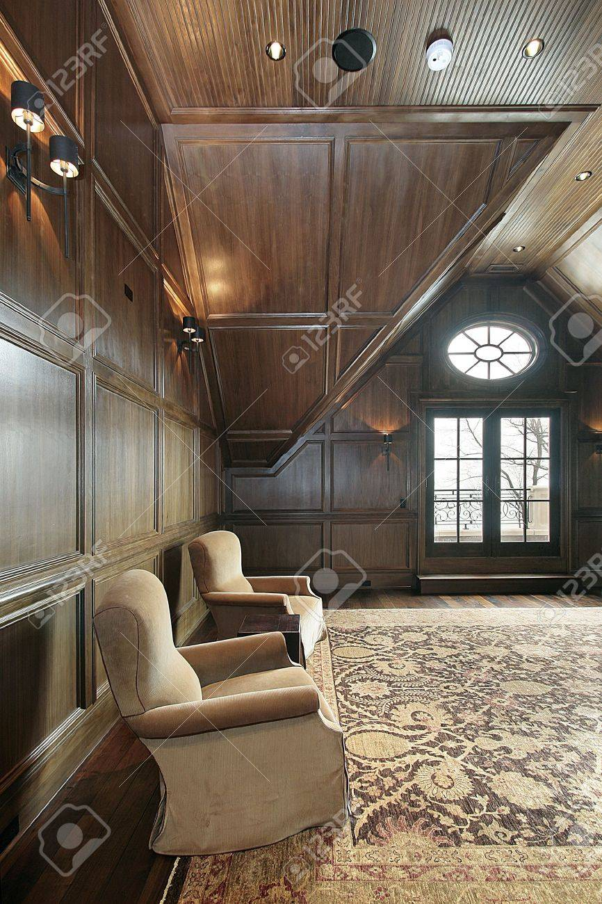Office in new construction luxury home with dark wood paneling Stock Photo - 6739801