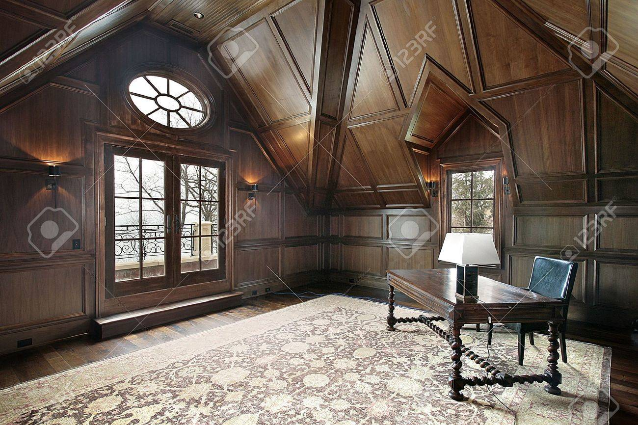 Office in new construction luxury home with dark wood paneling Stock Photo  - 6739930 - Office In New Construction Luxury Home With Dark Wood Paneling