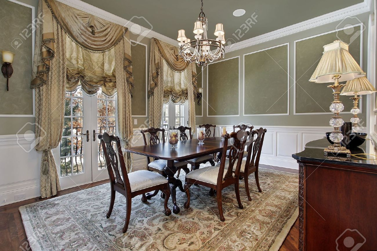 Dining Room In Luxury Home With French Doors Stock Photo   6846761