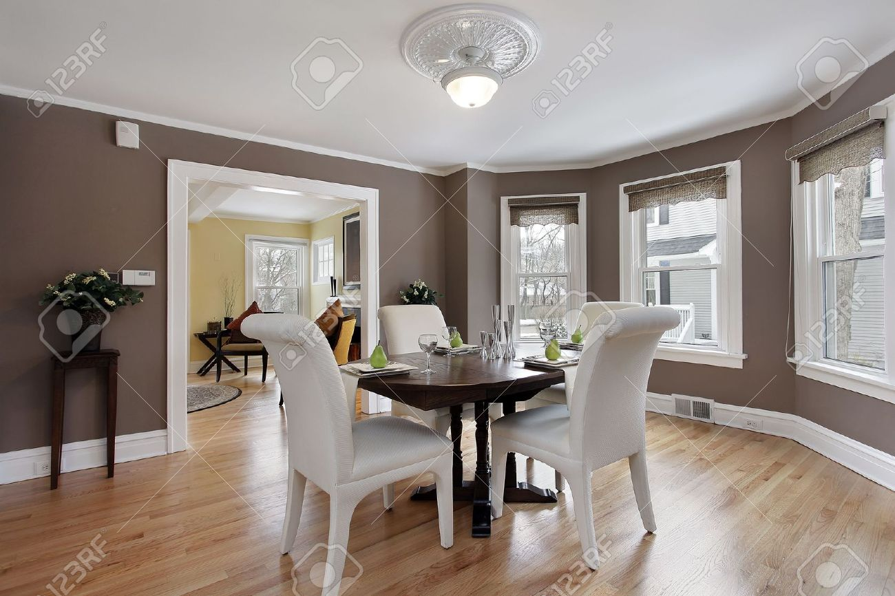 Dining room in suburban home with wall of windows Stock Photo - 6846793