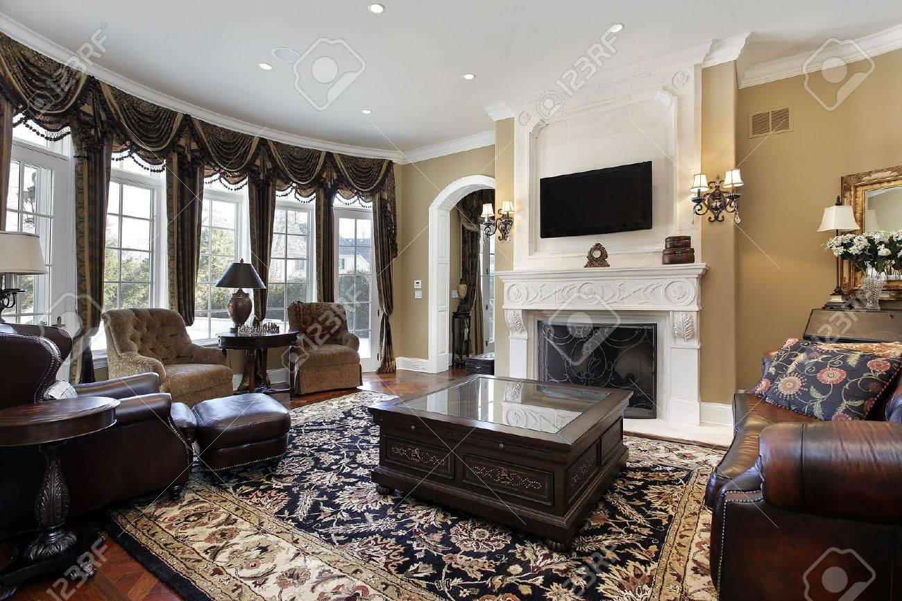 Family room in luxury home with fireplace Stock Photo - 6846760