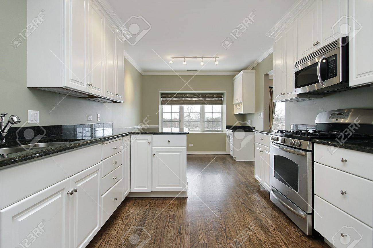 Kitchen Dark Wood Floors Kitchen In Remodeled Home With Dark Wood Floors Stock Photo