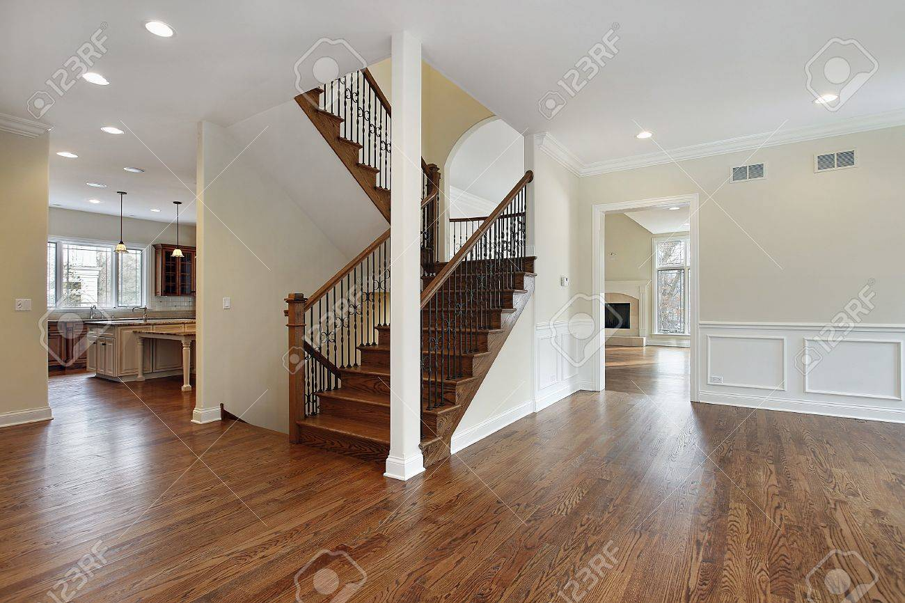 Foyer In New Construction Home With Stairway Stock Photo   7750915