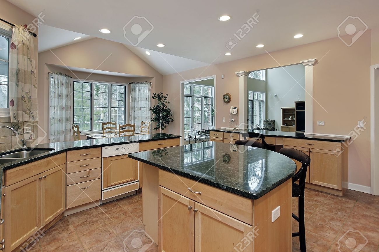 Kitchen in luxury home with marble top island Stock Photo - 7750887